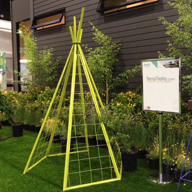 Love the beautiful and innovative trellises by#TerraTrellis on display at #dwellondesign. And in my favorite colors, purple and lime!  @agrowingpassion