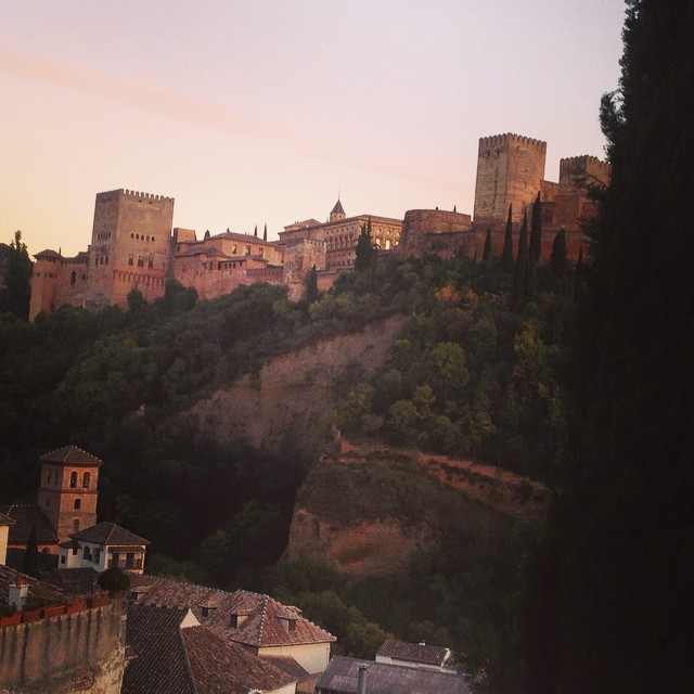 #TheAlhambra at sunset from our rooftop. #Granada Spain. @agrowingpassion