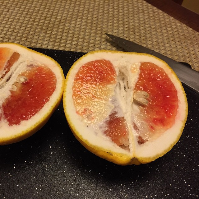 #valentine citrus is a three way cross between a pumelo, a blood orange, and a mandarin (tangerine). It tastes like a sweet grapefruit with blood orange overtones. Coming to a farmers market or supermarket near you, thanks to #UCRiverside  @agrowingpassion