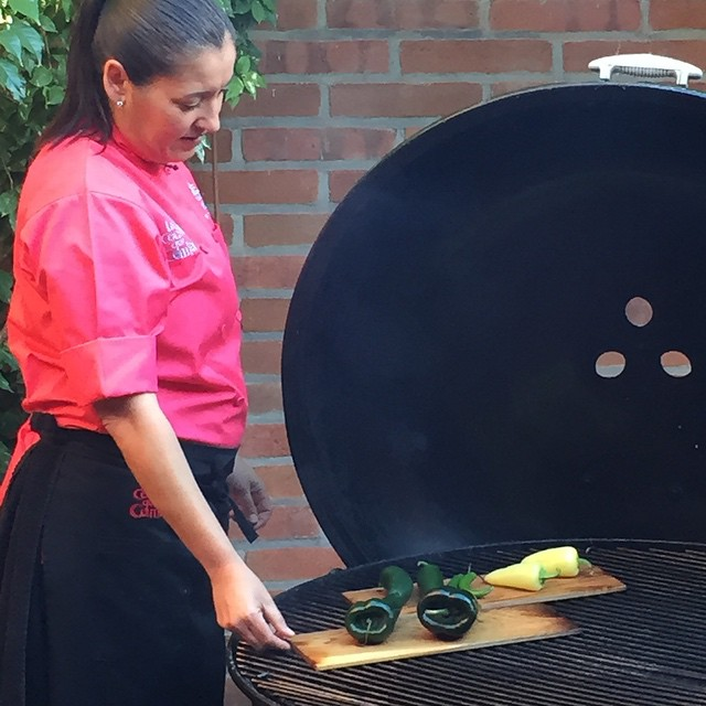 Executive chef Denise Roa smokes chilis at #LaCocinaQueCantar at #RanchoLaPuerta in Tecate Mexico.  @agrowingpassion