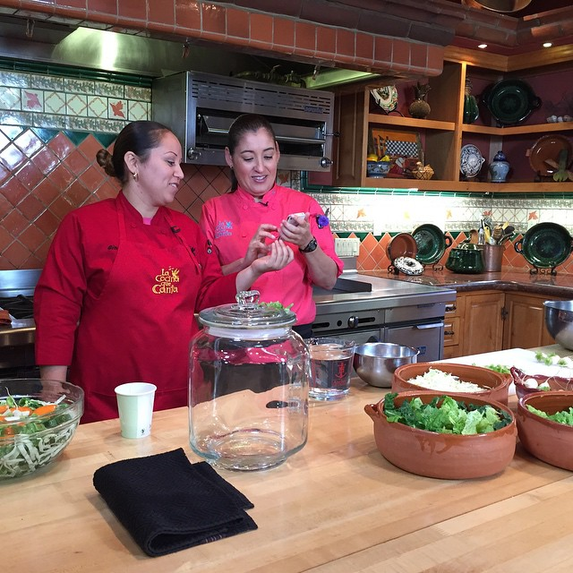 #RanchoLaPuerta Executive Chef Denise Roa prepares to make #KinChi as a demonstration of #fermentation for an upcoming episode on #preservingtheharvest. @agrowingpassion