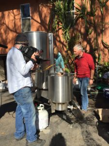 Shooting beer brewing on the driveway